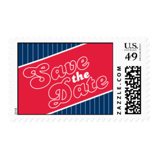 Baseball Inspired Save The Date Postage (Red/Blue)