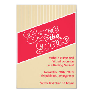 """Baseball Inspired Save The Date (Red / Beige) 5"""" X 7"""" Invitation Card"""