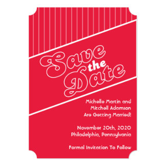 Baseball Inspired Save The Date (Red) Card