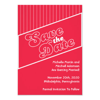 """Baseball Inspired Save The Date (Red) 5"""" X 7"""" Invitation Card"""