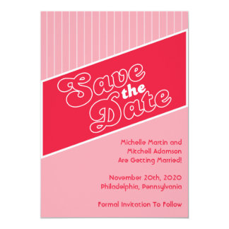 """Baseball Inspired Save The Date (Red / Light Red) 5"""" X 7"""" Invitation Card"""