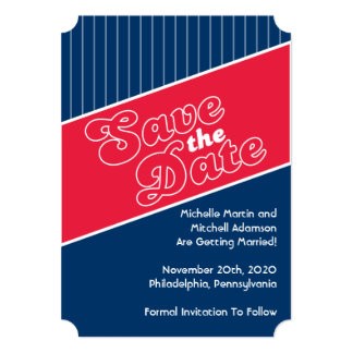 Baseball Inspired Save The Date (Red / Navy Blue) Card