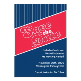 """Baseball Inspired Save The Date (Red / Navy Blue) 5"""" X 7"""" Invitation Card"""