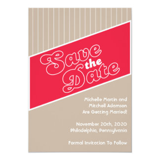 """Baseball Inspired Save The Date (Red / Taupe) 5"""" X 7"""" Invitation Card"""