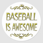 Baseball is Awesome Round Stickers