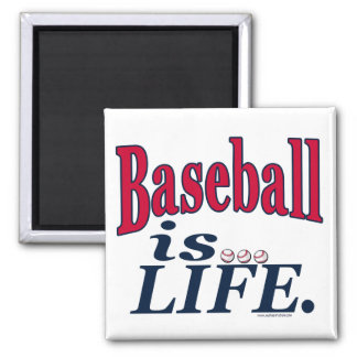 Baseball is Life by Mudge Studios 2 Inch Square Magnet