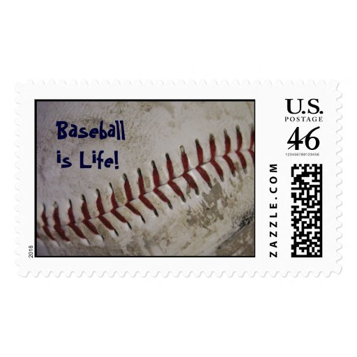 """""""Baseball is Life!"""" Postage Stamps - Large"""