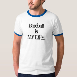 Baseball is My LIFE (ADD NUMBER) Blue & White T-Shirt