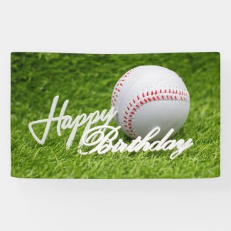 Baseball is on green grass happy birthday sign
