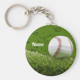 Baseball is on green grass watercolor keychain