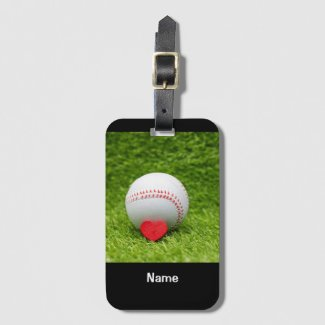 Baseball is on green grass with love wedding luggage tag