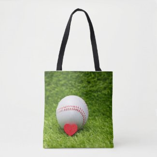 Baseball is on green grass with love wedding tote bag