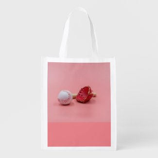 Baseball is on pink background  grocery bag