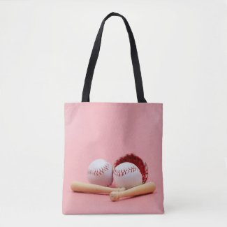 Baseball is on pink background tote bag