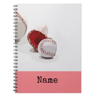 Baseball is on white and pink background  notebook