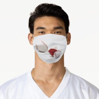 Baseball is on white background watercolor  adult cloth face mask