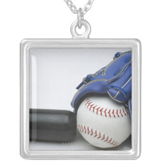 Baseball items square pendant necklace