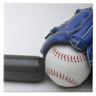 Baseball items large square tile
