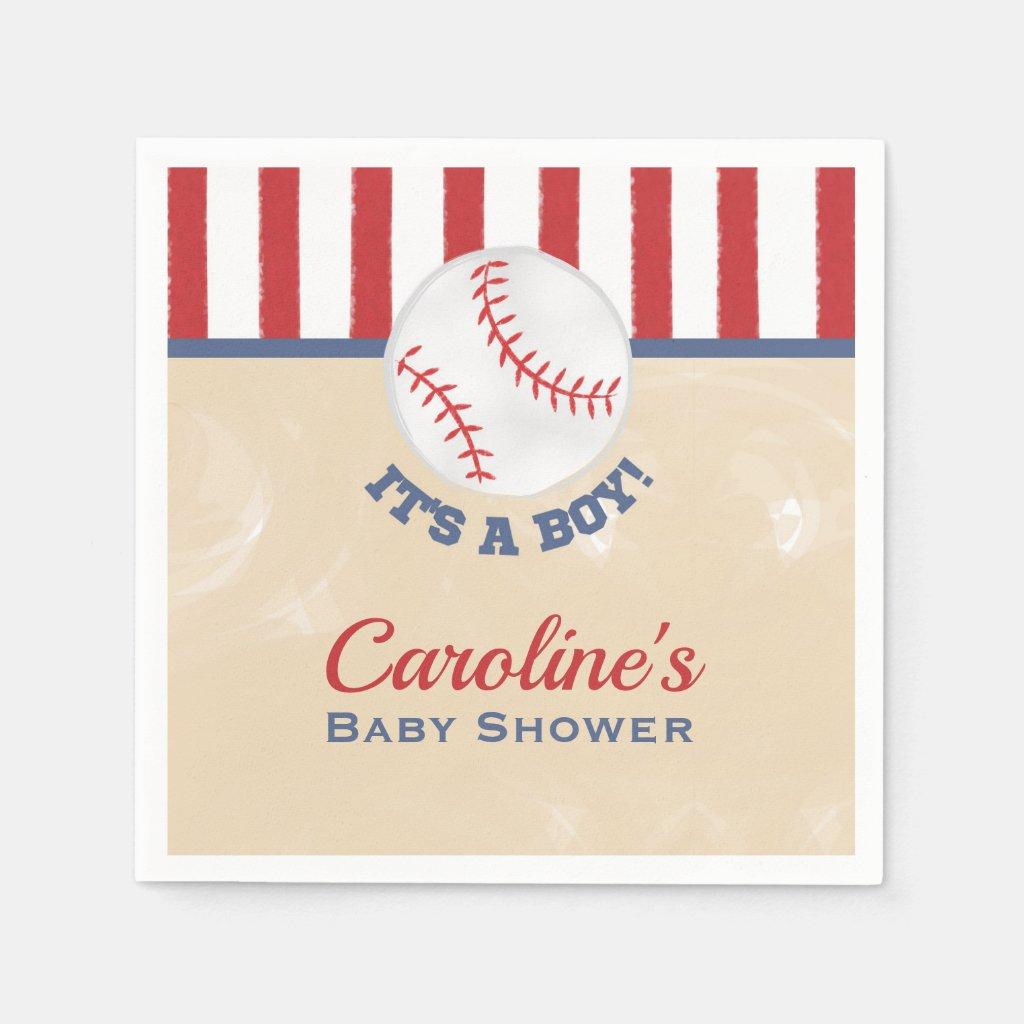 Baseball It's a Boy Baby Shower Napkin