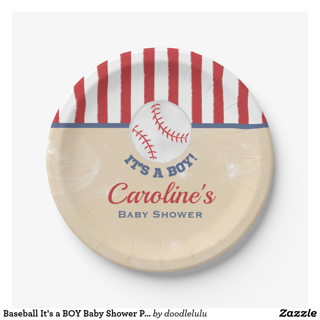 Baseball It's a BOY Baby Shower Paper Plate
