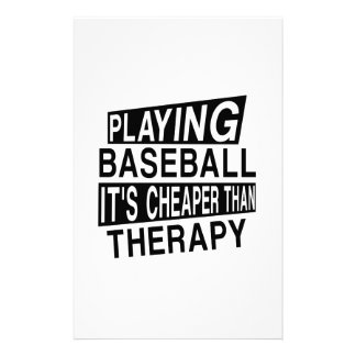 BASEBALL Its Cheaper Than Therapy Stationery