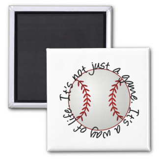 Baseball-its not just a game 2 inch square magnet