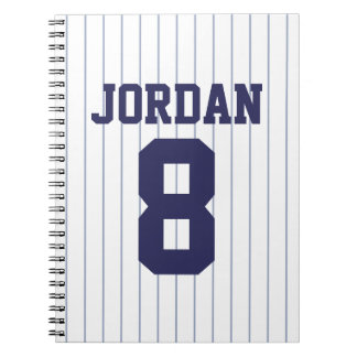 Baseball Jersey with Custom Name and Number Notebook