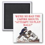 baseball joke 2 inch square magnet