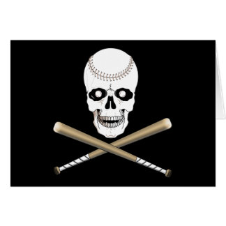 BASEBALL JOLLY ROGER SKULL & CROSS BATS CARD