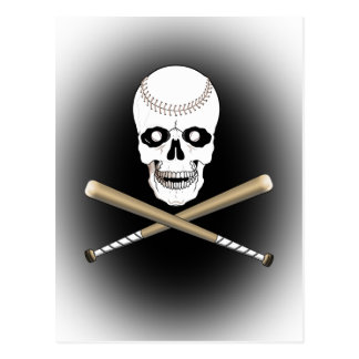BASEBALL JOLLY ROGER SKULL & CROSS BATS POSTCARD