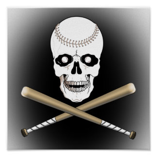 BASEBALL JOLLY ROGER SKULL & CROSS BATS POSTER