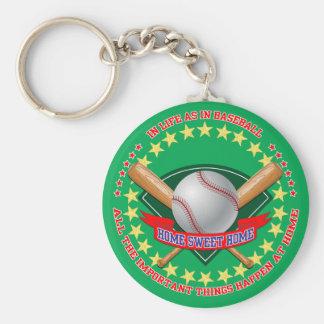 Baseball Key Ring Basic Round Button Keychain