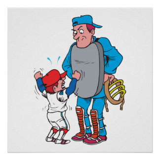 baseball kid arguing with the umpire poster