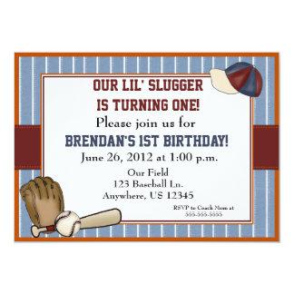 "Baseball Kids Birthday Invitation 5"" X 7"" Invitation Card"