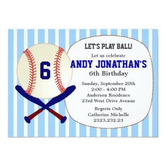 Baseball Kid's Birthday Party Blue Invitation
