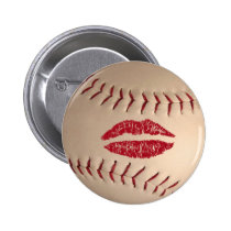 baseball kiss  badge pinback button