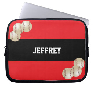 Baseball Laptop Computer Sleeve, Red and Black Laptop Sleeve