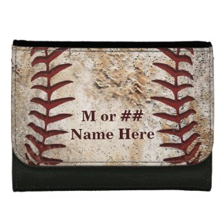 Baseball Leather Wallet, Name, Monogram or Number Leather Wallet