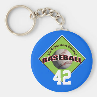 Baseball Life Begins on the Diamond and Number Keychain
