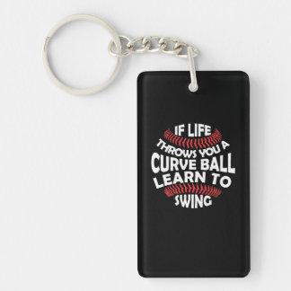 Baseball Life Throws Curveball Learn Swing Keychain
