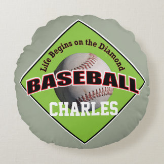 Baseball Life with Text Round Pillow