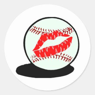 Baseball Lips Classic Round Sticker