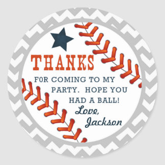Baseball Little Slugger Thank You Sticker Tags