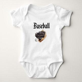 Baseball Logo And Gloves, Baby Bodysuit
