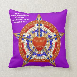 Baseball Love & Patriotic Heart 2 Logos View Hints Throw Pillow