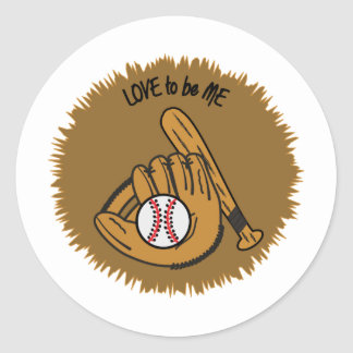 BASEBALL - LOVE TO BE ME CLASSIC ROUND STICKER