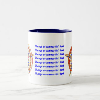 Baseball Love with Patroitic Heart Logo View My Hi Two-Tone Coffee Mug