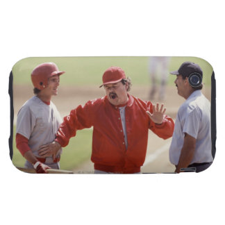 Baseball manager arguing with umpire and holding iPhone 3 tough cases
