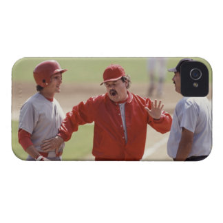Baseball manager arguing with umpire and holding iPhone 4 case