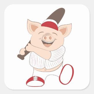 Baseball mascot square sticker